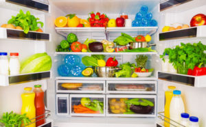 fresh, healthy food in a refrigerator